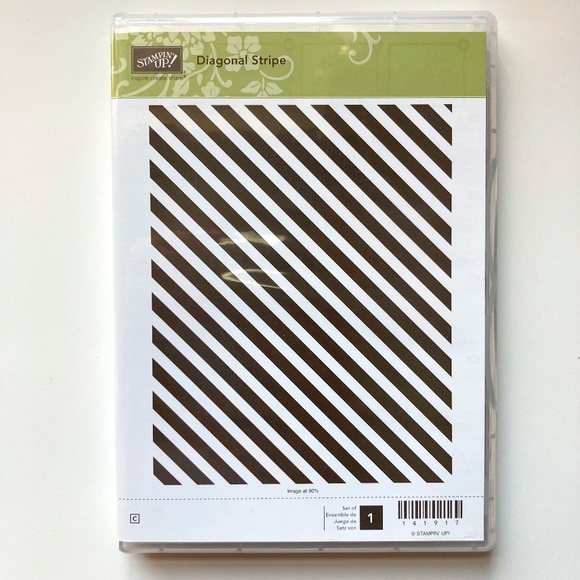 Stampin' Up! Diagonal Stripe Retired Clear Mount Stamp - New